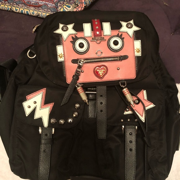44231dd8ed6a Prada Bags | Nwt Leather And Fabric Backpack With Robot | Poshmark